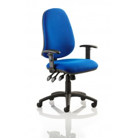 Eclipse XL III Lever Task Operator Chair Blue With Height Adjustable Arms