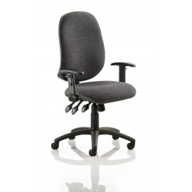 Eclipse XL III Lever Task Operator Chair Charcoal With Height Adjustable Arms