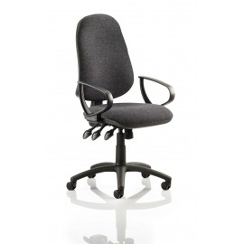 Eclipse XL III Lever Task Operator Chair Charcoal With Loop Arms