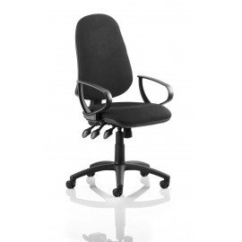Galloway Visitor Cantilever Chair Black Fabric With Arms
