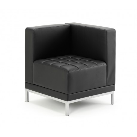 Infinity Modular Corner Unit Sofa Chair Black Bonded Leather