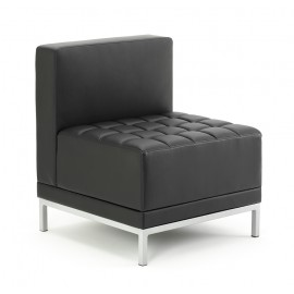 Infinity Modular Straight Back Sofa Chair Black Bonded Leather