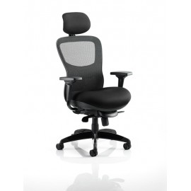 Stealth Shadow II Black Mesh Seat And Back Chair With Arms With Headrest