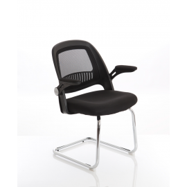 Eco Task Operator Mesh Black and Black Cantilever Chair With Folding Arms