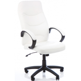Atlas White Leather Executive Chair With Arms