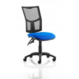 Eclipse II Mesh Task Operator Chair With Black Mesh Back Blue Fabric Seat