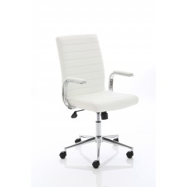 Ezra Executive White and Cream Leather Chair