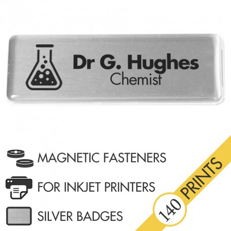 The Mighty Badge™ Corporate Pack [Silver] [Magnetic Fastener] for InkJet Printers