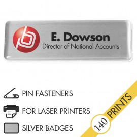 The Mighty Badge™ Corporate Pack [Silver] [Pin Fastener] for Laser Printers
