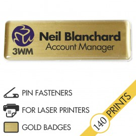 The Mighty Badge™ Corporate Pack [Gold] [Pin Fastener] for Laser Printers