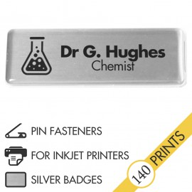 The Mighty Badge™ Corporate Pack [Silver] [Pin Fastener] for InkJet Printers