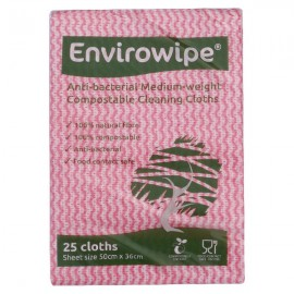 Envirowipe Antibacterial Cleaning Cloths Red Pack of 25 EWF151