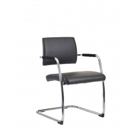 Bruges Black soft leather Cantilever Chair 2 per box