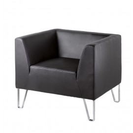 Linear 1 seater Black Faux leather designer Sofa