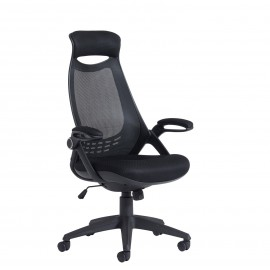 Sleek mesh chair with head support
