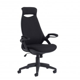 Sleek fabric managers chair with head support