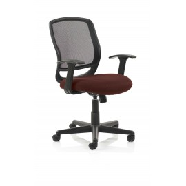 Mave Task Operator Chair Black Mesh With Arms Bespoke Colour Seat Chilli
