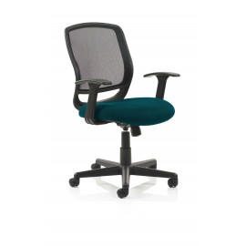 Mave Task Operator Chair Black Mesh With Arms Bespoke Colour Seat Kingfisher