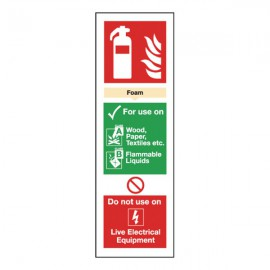 Safety Sign Fire Extinguisher Foam 300mm x 100mm Self-Adhesive F202/S