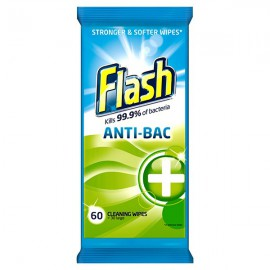 Flash Strong Weave Antibacterial Cleaning Wipes (Pack of 60) 5413149937185