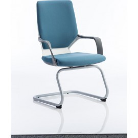 Xenon Visitor Cantilever White Chair Blue Fabric With Arms