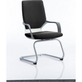 Xenon Visitor Cantilever White Chair Black Fabric With Arms
