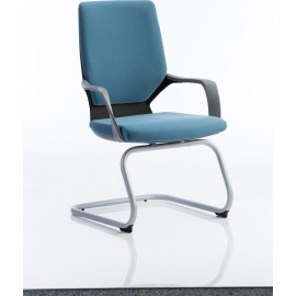 Xenon Visitor Cantilever Black Chair Blue Fabric With Arms