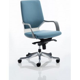Xenon Executive White Chair Blue Fabric Medium Back With Arms