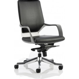Xenon Executive White Chair Black Leather Medium Back With Arms
