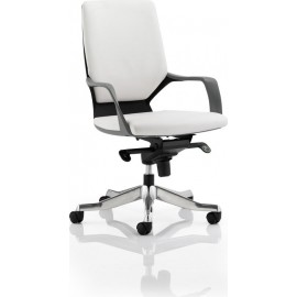 Xenon Executive Black Chair White Leather Medium Back With Arms