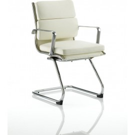 Savoy Visitor Cantilever Chair Ivory Bonded leather With Arms