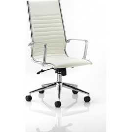 Ritz Executive Chair Ivory Bonded Leather High Back With Arms