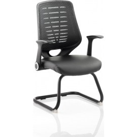Relay Visitor Cantilever Leather Seat Black Back With Arms
