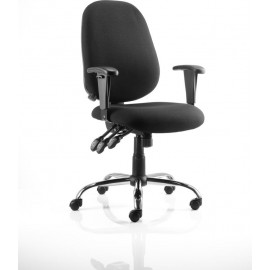 Lisbon Task Operator Chair Black Fabric With Arms