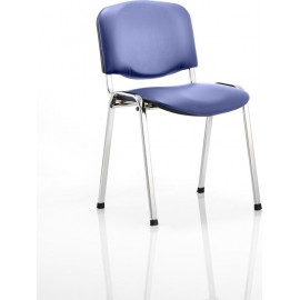 ISO Visitor Chair Blue Vinyl Chrome Frame Without Arms