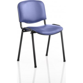 ISO Visitor Chair Blue Vinyl Black Frame Without Arms