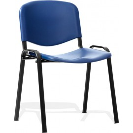 ISO Visitor Chair Blue Poly Black Frame Without Arms