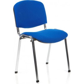 ISO Visitor Chair Blue Fabric Chrome Frame Without Arms
