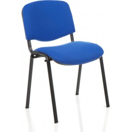 ISO Visitor Chair Blue Fabric Black Frame Without Arms