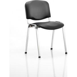 ISO Visitor Chair Black Vinyl Chrome Frame Without Arms