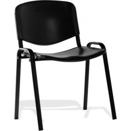 ISO Visitor Chair Black Poly Black Frame Without Arms
