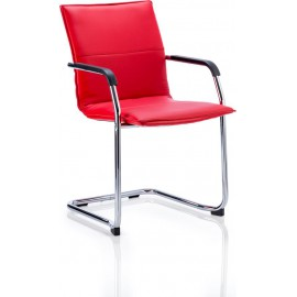 Echo Visitor Cantilever Chair Red Bonded Leather With Arms