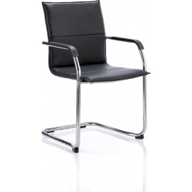 Echo Visitor Cantilever Chair Black Bonded Leather With Arms