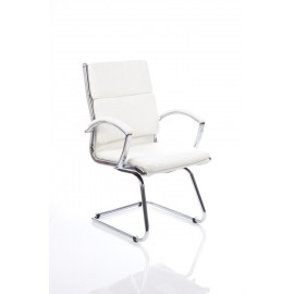 Classic Visitor Cantilever Chair White With Arms