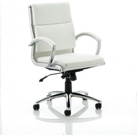 Classic Executive Chair White With Arms Medium Back