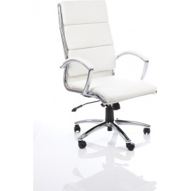 Classic Executive Chair White With Arms High Back