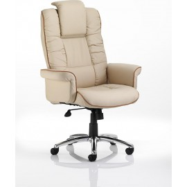 Chelsea Executive Chair Cream Bonded Leather With Arms