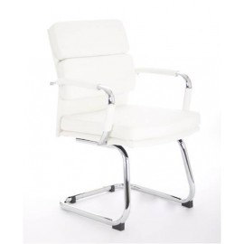 Advocate Visitor Cantilever White Leather With Arms