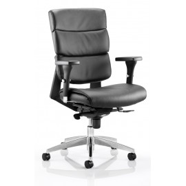 Aura Task Operator Chair Black Leather With Arms