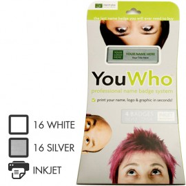 YouWho™ Name badge 4 Unit Kit Silver for INKJET PRINTERS